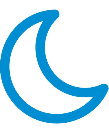 Blue crescent moon icon